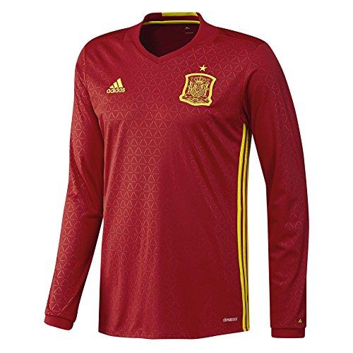 adidas Herren Trikot UEFA Euro 2016 Spanien Heimtrikot Replica Langarm, Scarlet/Bright Yellow, L