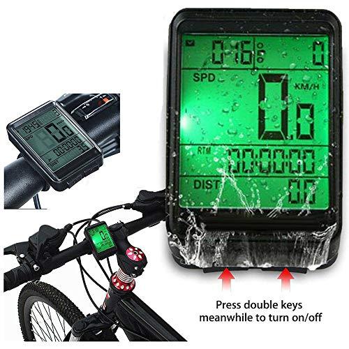 HKIASQ Fahrradcomputer mit Sonnenenergie-Fahrrad Tachometer und Kilometerzähler drahtlose wasserdichte Fahrradcomputer LCD-Hintergrundbeleuchtung