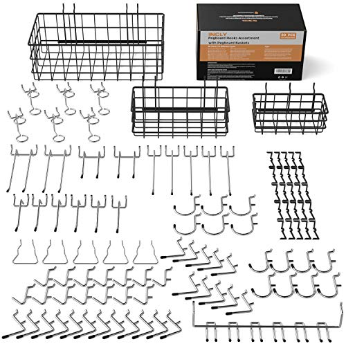 INCLY Peg Board Hooks Set Including 3 Packs Pegboard Baskets S/M/L, Pegboard Accessories Kit Hanging Organizer Tools for Garage Storage Wall Attachments