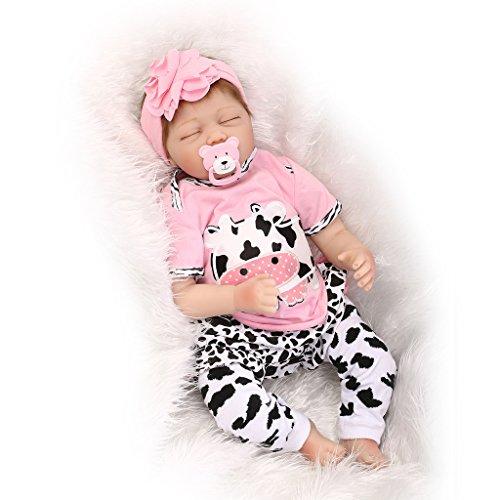 Nicery Reborn Baby Doll Rinato Bambino Bambola Vinyl molle del Simulazione Silicone 22 pollici 55cm Bocca Realistico Ragazzo Ragazza Bambina Giocattolo vivido 3 anni + Rosa della mucca da latte bianco