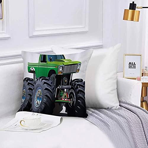 Lilatomer Funda de algodón 45 x 45 cm Camioneta Pickup Gigante de Cars con Llantas Grandes y suspensión. Sofá Throw Cojín Almohada Caso de la Cubierta para Sala de Estar 45x45cm