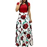 Dresses for Women, F_Gotal Women's Sexy Short Sleeve Floral Printed Dress Summer Casual Long Maxi Beach...
