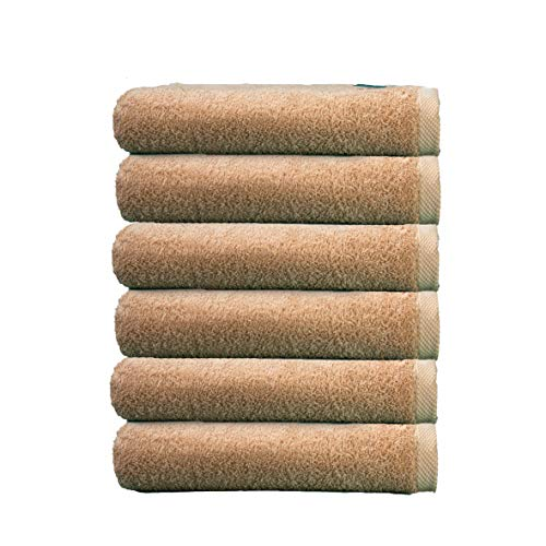 ADP Home - Pack Toallas 550 Grms 6 Piezas (Toalla Tocador) 100% Algodón Peinado Color - Beige Talla - 30x50 cm