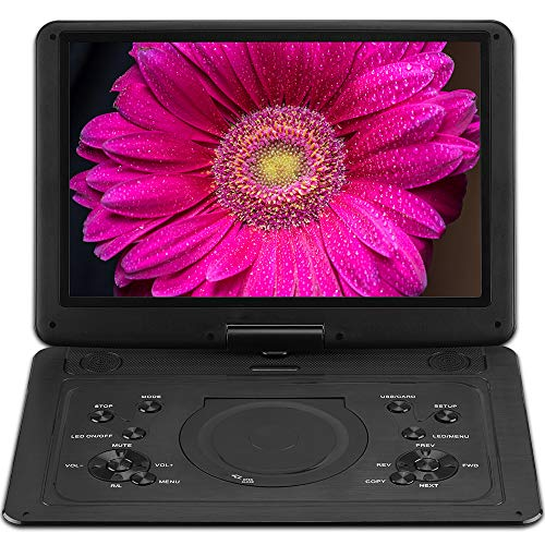 Large 15.4' Screen Portable DVD Player Internal Swivel Screen with 5 Hours Rechargeable Battery,...