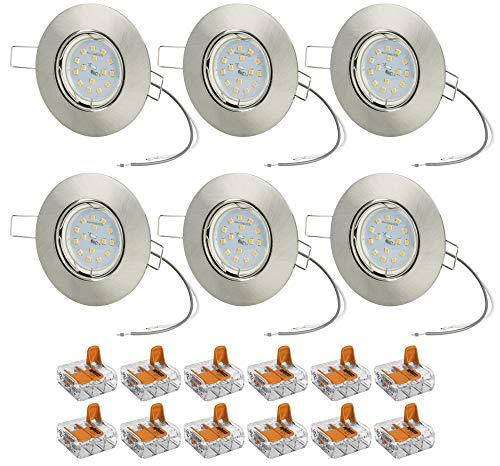 6er Set flacher LED Einbaustrahler Farbe Edelstahl gebürstet dimmbar ohne Dimmer 3,5cm Einbautiefe 7W LED warmweiß 2700K 230V 500Lumen Leuchtmittel austauschbar