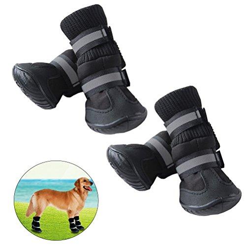UEETEK Botas impermeables para perros Paw Protectors Antideslizante para perros Zapatos Black...