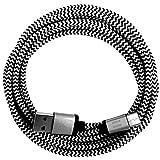 321ElectroniX® 1m Premium Nylon USB-C Typ C Ladekabel Datenkabel für Handy Tablet Smartphone | Silber weiß