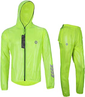 RockBros High Visibility Cycling Rain Jacket Men's Windproof Rain Coat Motocycle Rain Suit Green