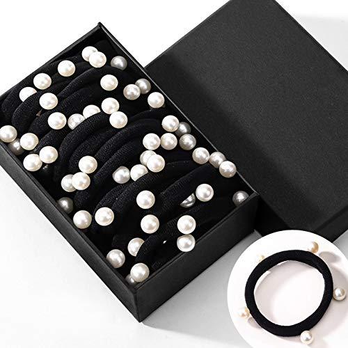 Coleteros para mujer, Gomas del pelo de colores, finas, de perlas, espiral, trenzada, Elásticos de nylon y algodón. 1 caja (1 x 20 coleteros)