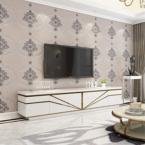 AYMAYO 3D Europäischen Tapete Wohnzimmer Schlafzimmer Hotel Clubhaus Verdickt Hirschhaut Tapete Luxus Warm Nude Pink