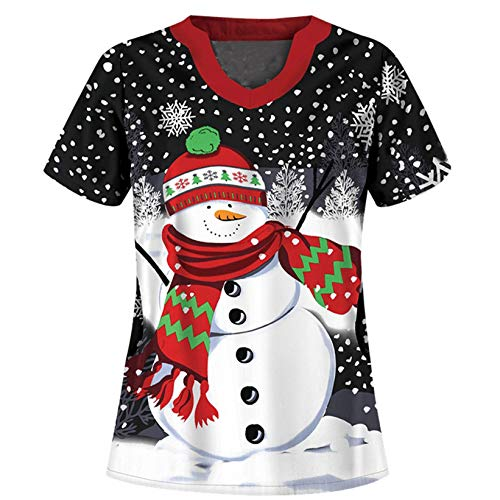 Women's Scrub_Tops Holiday Print Tops Nursing_Scrubs for Christmas