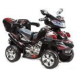 Moto elettrica per Bambini 6V B021 a 3 km/h con Musica, luci e portabagagli, colorazione:Nero