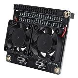 Placa de expansión para ventilador radiante Pi, ventilador de refrigeración dual para disipar el calor a tiempo. Ventilador de disipador de calor LED de colores, para Pi 4B / 3B + / 3B / 3A +.