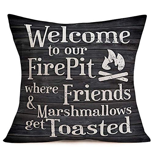 Retro Wood Xmas Decoration Throw Pillow Case Cotton I'm Dreaming White Christmas Quote Saying with Winter Snowflake Pattern Pillow Cover Home Sofa Cushion Cover 18'x18' (MC-Fire Pit) 16X16in
