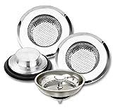 4 Pack Kitchen Sink Strainer Drain Stopper, Anti-Clogging Sink Strainer Basket Catcher, Stainless Steel Garbage Disposal Sink Plug for Most Drain