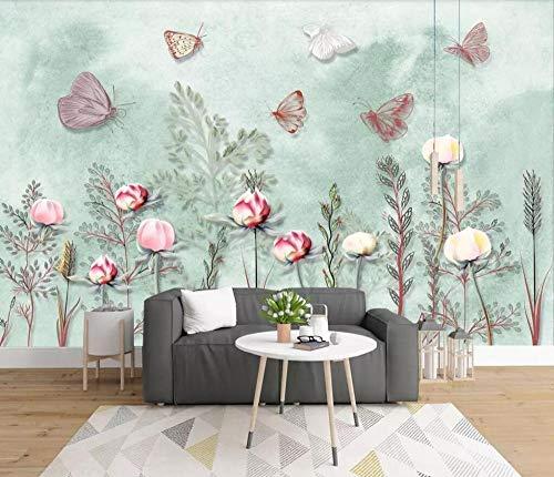 Qingany Custom 3D wallpaper Nordic Small Fresh, handgeverfd, waterverf, cartoon, plant, tuin, muur, bakground papier 430 * 300cm