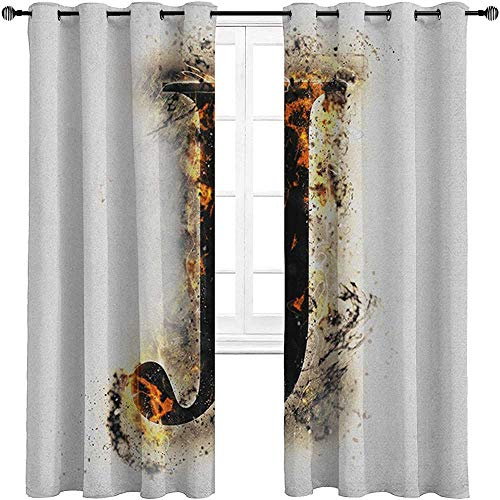 carmaxshome Farmhouse Curtains 84 inch Length, Letter J Grommet Curtain Panels - Majuscule J Burning Effects Retro Alphabet English Gothic Influence Image Each 36' x 84', Tan Black Yellow