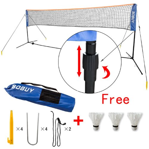 Height Adujstable Badminton Net , Tennis Volleyball Net with Stand / Frame (SFN02 (Lengthen: 400cm))