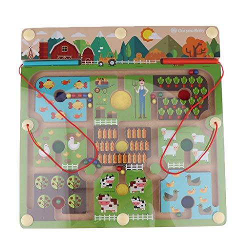 SM SunniMix Magnetspiel Bauernhof Labyrinth Brettspiel mit Magnetstift