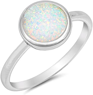 Solid Round Lab Created White Opal .925 Sterling Silver Ring Sizes 4-12