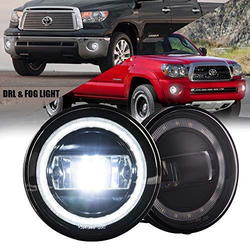 LED Fog Light Assembly with DRL for Tacoma 2005-2011/ Tundra 2007-2012/ Solara 2004-2006, Bumper Driving Fog lamp Plug and Play 2Pcs Toyota Fog Lights