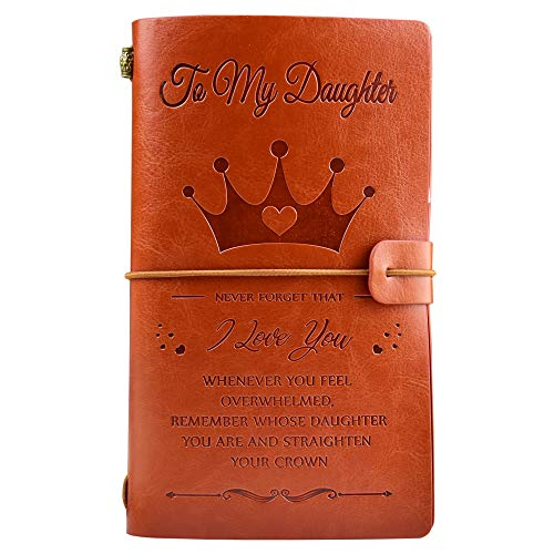 """To My Daughter Leather Journal Crown Style - I love You - 136 Page 7.9""""x4.7""""Embossed Vintage Refillable Writing Journal for Graduation,Christmas,Birthdays"""