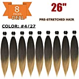 26' 8 Packs Pre Stretched Braiding Hair Yaki Synthetic Ombre Color Professional...