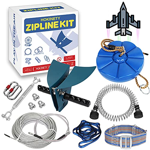 Zip line Kits for Backyard 120FT - Zip Lines for Kids and Adult Up to 330 lb with Ziplines Spring Brake & Belt & Zip line Trolley & Seat for Outdoor Playground Entertainment Equipmen