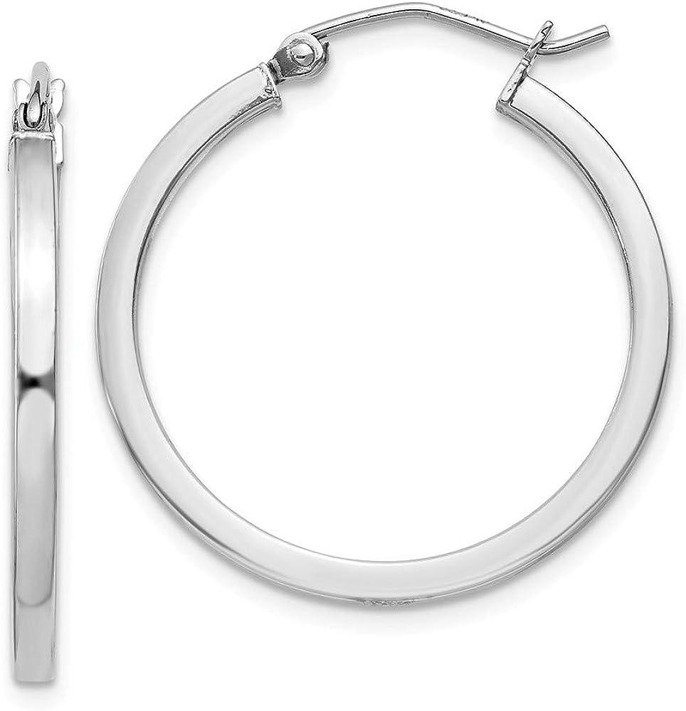 925 Sterling Nippon regular agency Silver 2x25mm Square Tube Price reduction Hoops Ear Hoop S Earrings