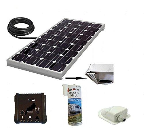 Kit panneau solaire 150 w / 12v monocristallin pour camping car + regulateur + cable + fixation + colle