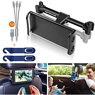 "Customer reviews Car Headrest Tablet Mount, Extremade Car iPad Holder Compatible for iPad, Samsung Galaxy Tabs, Nintendo Switch, iPhone, Smartphones, Tablets and Other Devices 4""-11"" Car Rear Back Seat Stand Cradle:Amedama"