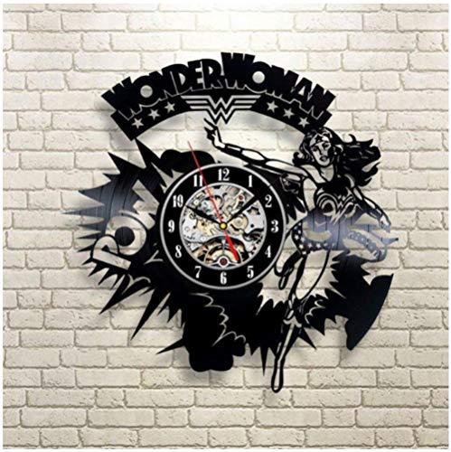 Vinilo Pared Reloj Mujer Armadura Disco Retro un Reloj de Pared Grande con un Tema Regalo Creativo del Reloj de Pared Hecha a Mano 12 Pulgada(Sin Luces)