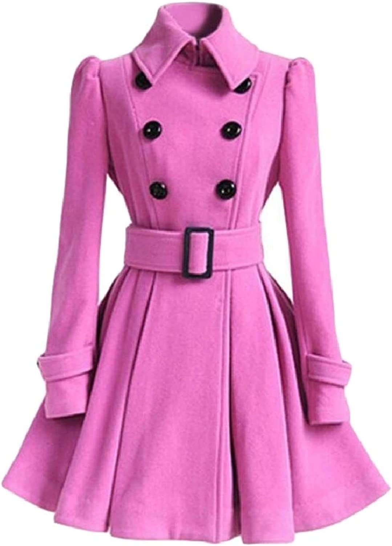 SmeilingCA Women Woolen Coat Trench Parka Jacket Belt Solid Overcoat Outwear