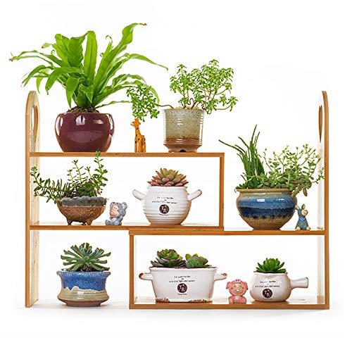 Bamboe bloem standaard, boekenplank plank, desktop multi-layer opslag plank, geplaatst in het kantoor, vensterbank, keuken, woonkamer