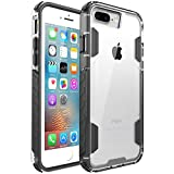 zisure iPhone 8 Plus Case,iPhone 7 Plus Case, [Rock Sugar] Heavy Duty Crystal Solid Clear Case Durable Shatterproof Sports Cover for iPhone 8 Plus/iPhone 7 Plus 5.5 inch (Black)