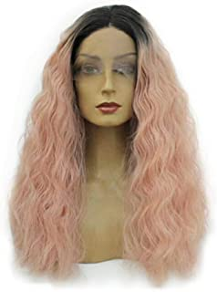 Remeehi Wavy Curly Full Head Wigs None Lace Full Head Wig For Women Pink 10inch