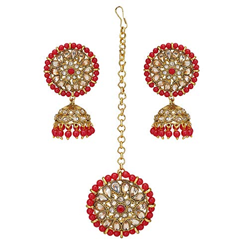 Jwellmart Indian Ethnic Partywear Wedding Gold Plated Jhumki Jhumka CZ Stone Pearl Earrings Tikka Set for Women and Girls (Red)