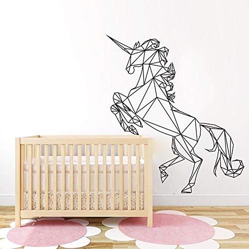 Quszpm Geometrica Bestia Animale Adesivi Murali Baby Nursery Cameretta Geometrica Cavallo Bestia Animale Adesivo Camera da Letto Vinile 93cmx82cm