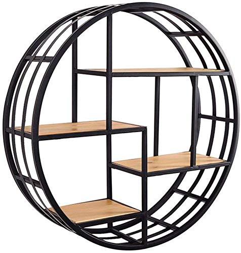 Verkoopstandaard voor decoratie voor huis / woonkamer, muur, frame, bloembak, achterkant van massief hout, wandplank, wandplank, rond, hangend (maat: diameter 100 cm) Diameter 70cm