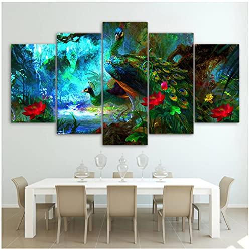Marco de pintura de lienzo 5 paneles hermoso pavo real póster artístico cuadro de pared decoración del hogar impresión en lienzo para sala de estar