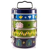 Diseño de pintada a mano 4niveles Madhubani Indian-Tiffin caja