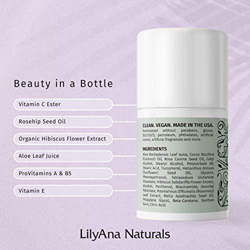 LilyAna Naturals Eye Cream - Eye Cream for Dark Circles and Puffiness, Under Eye Cream, Anti Aging Eye Cream Reduce Fine Lines and Wrinkles, Rosehip and Hibiscus Botanicals - 1.7oz