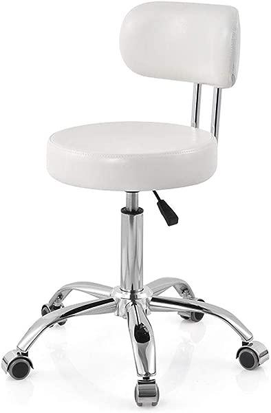 MQQ 旋转电脑椅人造皮革气举转椅凳子白色转椅工作椅带靠背办公室电脑休息室餐厅酒吧气垫可调节理发椅