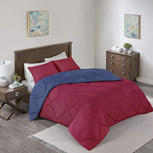Comfort Spaces Vixie 3 Piece Comforter Set All Season Reversible Goose Down Alternative Stitched Geometrical Pattern Bedding, Full/Queen, Red/Navy