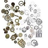 Steampunk Zahnräder Schmuck, 80 Stück Steampunk Accessoires, Antikes Braun Silber Metall Steampunk Uhr Zahnrad Charms Anhänger zum Basteln Schmuck machen Zubehör-Zufälliger Stil