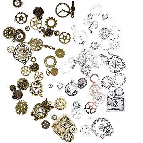 Steampunk Engranajes, 80 piezas Engranajes Steampunk Manualidades Joyas Manualidades para Relojes y Manualidades de Bricolaje Accesorios Decorativos,Marrón Antiguo Plata-Estilo al Azar
