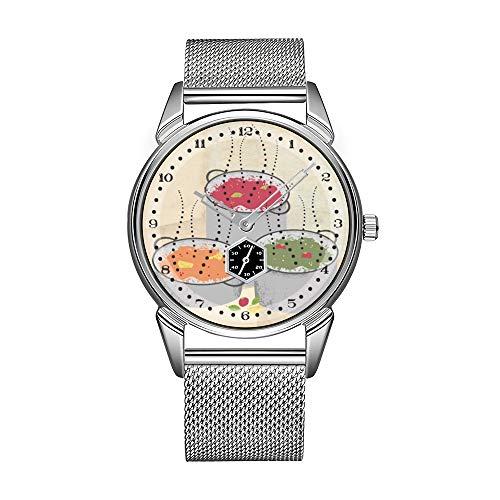 Mode herrenuhr Silber Edelstahl wasserdicht Uhr männer top Marke Luxus herrenuhr Uhr Shabby chic Kochen dampfenden aromen Sauce Topf Uhr