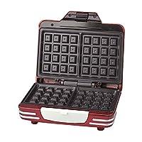 Ariete 187 Waffle Maker - Piastra elettrica antiaderente per waffle, 700W, Riponibile in verticale, Rosso