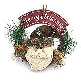 Yeaser Guirnalda de Navidad artificial Santa Claus corona colgante ornamento decoración de Navidad puerta vacaciones decoración interior decoración del hogar, 1 pieza (#B)