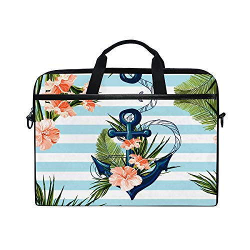 HaJie Laptop Bag Tropical Palm Leaves Flower Anchor Computer Case 14-14.5 in Protective Bag Travel Briefcase with Shoulder Strap for Men Women Boy Girls